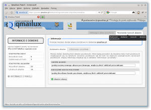 Panel postmastera - dodawanie aliasów